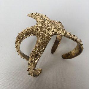 starfish cuff bracelet shinny gold color nautical